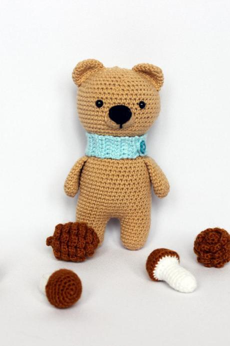 Crochet bear toy, Gift teddy bear doll, Handmade bear toy