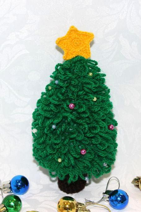 Crocheted Christmas tree miniature home decor, Crochet Christmas ornaments, Winter holiday gift for friend, Handmade christmas decoration